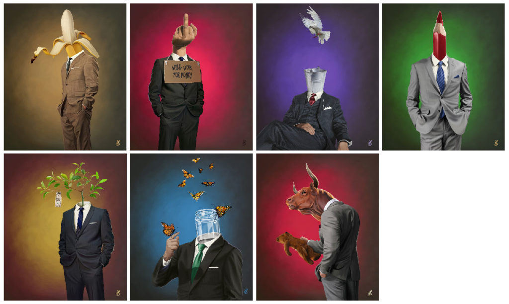 "Digital Collage - ""Suited"" Series to highlight the cynical values in the capitalism arena / copyright © rob snow 